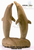 Dolphin facing each other 20 cm, Hibiscus Wood - Item Code: WD206